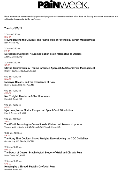 PAINWeek 2019 National Conference on Pain Management - CE/CME Credits